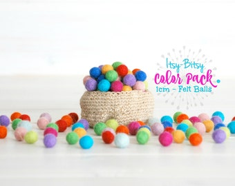 Tiny Wool Felt Balls - Colorful Felt Balls - 1CM Wool Felt Balls -10mm - 100% Wool Felt Pom Poms - 10mm Felt Balls  - Single Color Pack