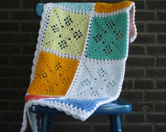Crochet baby blanket, crochet square blanket, crochet lap blanket, crochet blanket, Baby shower present, victorian lace square blanket