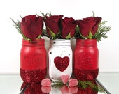 Glitter Mason Jars - Valentines Day Decor - Decorated Mason Jars - Room Decorations - Colored Mason Jars - Red Mason Jars - Distressed Jars