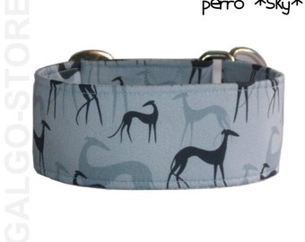 "greyhound collar *perro sky*; dog collar; blue, martingale, regular clip or tag collar; wide 1.2""- 2""; size XS- XL, greyhound collar"