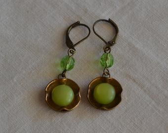 Vintage button floral drop earrings