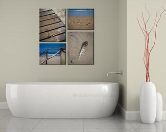Bathroom wall decor with set of 4 prints beach photography, nautical art, bathroom art, large wall art, coastal decor beige, beach decor