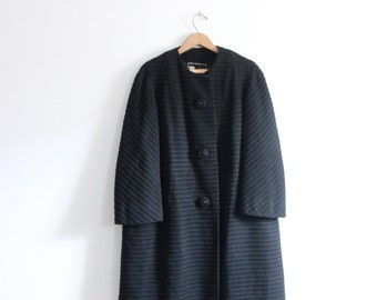 Black Wool 60s Swing Coat