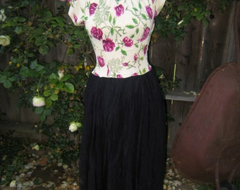 Vintage 1940's Floral Rayon Long Formal Party Maxi Tea Dress With Black Chiffon Skirt - Small