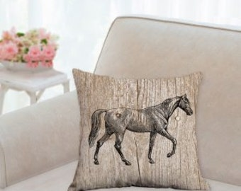 Designer White Horse Pillow with Wood Background