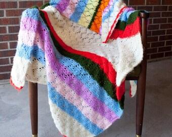 White multicolored stripe afghan, rainbow blanket, large afghan, rainbow afghan, stripe afghan, multi-colored afghan, white fuzzy afghan