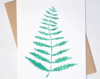 Fern Leaf Card, Blank - Hand-printed Linocut Card