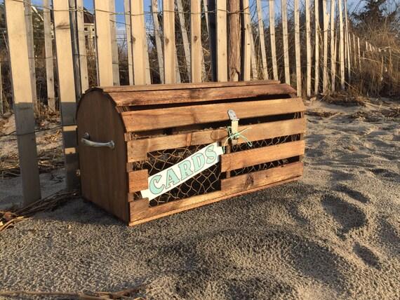 Reclaimed Wood Maine Lobster Trap Card Box | Custom Nautical Decoration for  Wedding, Bridal Shower - Reclaimed Wood Maine Lobster Trap Card Box Custom Nautical