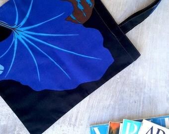 "Marimekko Tote - Cotton Market Tote Bag - Marimekko Fabric Kumina - Library Tote Bag - Overnight Tote Bag - Blue Floral Bag 30x33cm (12x13"")"