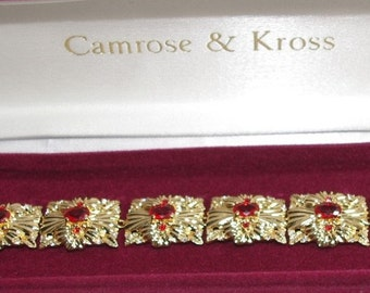 Jackie Kennedy Ruby Bracelet - Gold Plated, Simulated Stones, Box and Certificate - Sz 7 or 8