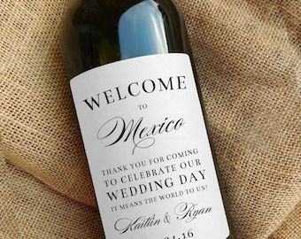 Welcome Bag Wine Labels \\ Regular or Mini Size