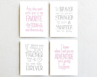 Baby Girl Nursery Decor - Winnie the Pooh Quote Prints - set 4, pink and gray inspirational wall art, new baby children's birthday day gift