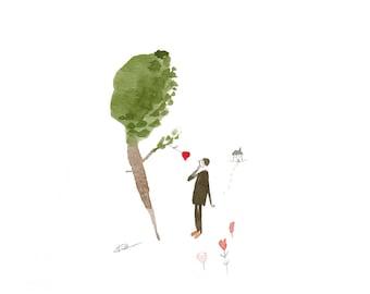 woodland art, fall art, autumn art, woodland illustration, small watercolour, whimsical art, picture book art, ORIGINAL tiny watercolour art