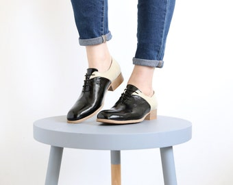 Oxford shoes black and cream patent Leather Women's shoes , free shipping , ADIKILAV , ON SALE 20%