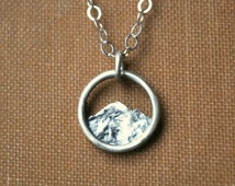Tiny Mountain Charm Necklace - Simple Silver Nature Pendant - Minimalist Everyday Necklace