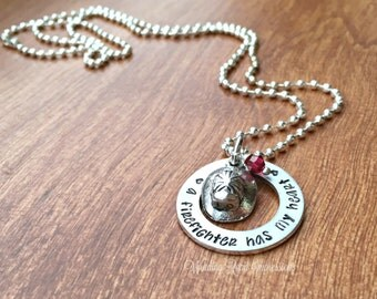 SALE-Has My Heart- Ready to ship Custom Hand Stamped Washer Necklace