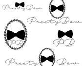 Pack of 5, Custom Logo design, bow logo design, black bow Logo and watermark, black bow logo, feminine chic logo design,business logo design