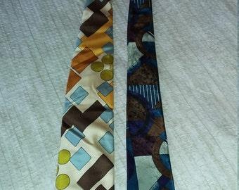 Vintage 70s Neckties - Set of 2 Ties Field Brothers by Oleg Cassini and Fox Hill