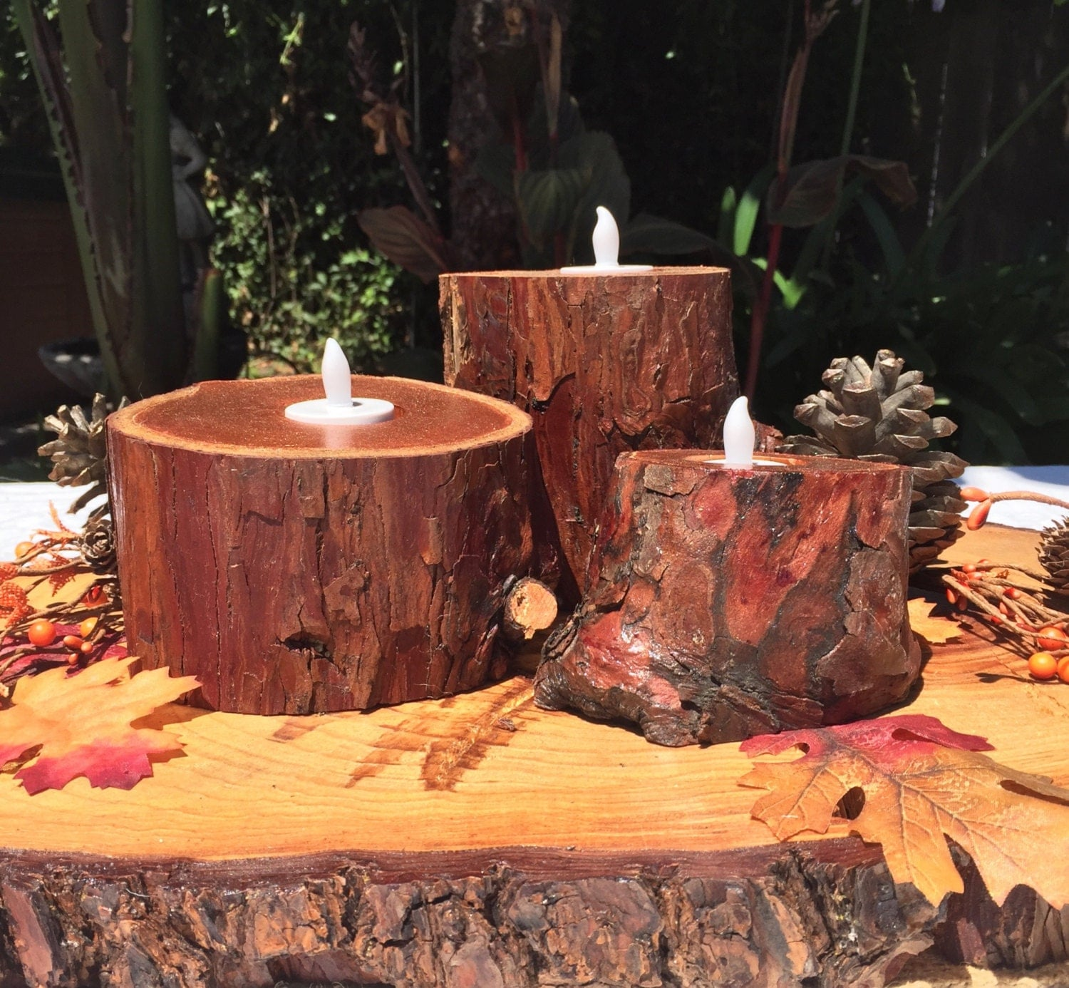 metallic copper tree stump candle holders 3 pc set