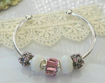 6PC Gift Set ~ Beautiful Pink ~ European Style Bangle Charm Bracelet Includes: Lampwork Glass And Crystal Beads. October Birthday
