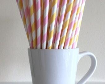 Pink and Yellow Striped Paper Straws Pastel Pink and Yellow Party Supplies Party Decor Bar Cart Cake Pop Sticks Mason Jar Straws Graduation