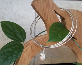 925 Sterling Silver Bangles hand hammering texture using 14ga wire.