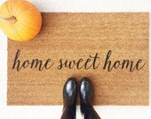 Home Sweet Home Welcome Mat / Doormat, Door Mat, Gift  // WM03B