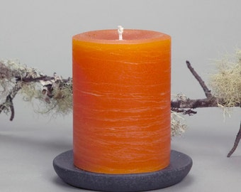 Orange Rustic Pillar Candle - 3x4 - Summer Decor - Unscented Candles - Rustic Decor - Boho Decor
