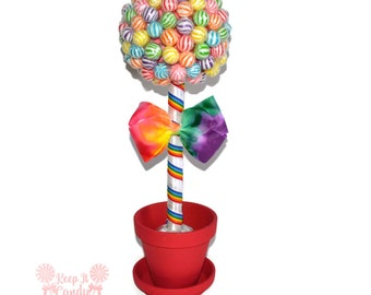Rainbow Lollipop Topiary, Rainbow Candy Topiary, Rainbow Candy Buffet, Rainbow Centerpiece, Rainbow Wedding Ideas, Rainbow Birthday Idea