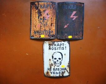 ONE!!! Genuine USSR era 1970s METAL caution sign / high voltage metal sign / Dangerous Skull  / soviet warning sign / Russian safety sign