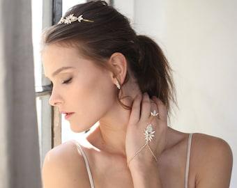 Bridal ring bracelet, Bridal slave bracelet, Slave bracelet, Hand chain, Hand bracelet, Bridal bracelet crystal,  Crystal slave bracelet