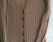 Caramel Brown 100% cashmere tunic length cardigan sweater up-cycled womens small by Three Whiskers Farm
