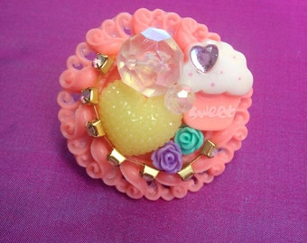 Coral Sparkle Kawaii Statement Ring, sweet lolita, girly, chunky, fairy kei, gyaru, Harajuku