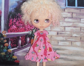 Blythe Cupcake Dress ~ Pink Ruffle Dress ~ Blythe Doll Clothes Outfit