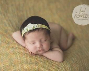 Tieback Headband, Yellow Tieback, Yellow Headband, Yellow Flower Tieback, Newborn Tieback, Jersey Tieback, Flower Tieback, Newborn Headband