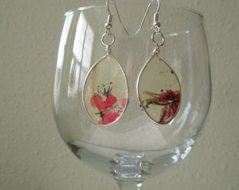 Paper earrings/Paper jewelry/Wire wrap jewelry/Wire wrapped earrings/Original painting earrings/Flower earrings/Flower jewelry