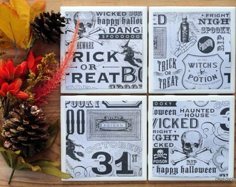 Halloween Coasters - Coasters - Drink Coasters - Tile Coasters - Ceramic Coasters  - Ceramic Tile Coasters - Coaster Set - Table Coasters