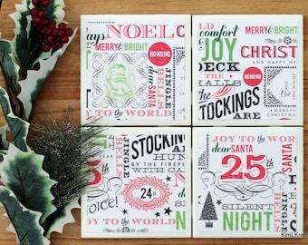 Christmas Coasters - Coasters - Drink Coasters - Tile Coasters - Ceramic Coasters - Christmas Decor - Table Coasters - Coaster Set of 4