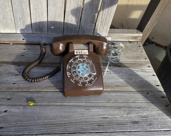 Telephone Vintage Classic Brown Rotary Up-cycled with newer plug-in cord