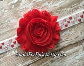 SALE Red Shabby Chic Heart Elastic Headband, Valentines Day Hair Bow, Baby Headband, Toddler Hair Accessory, Red and White Hearts Headband