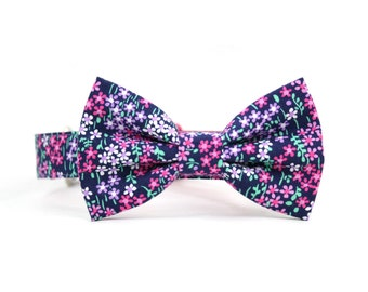 Floral Dog Bow Tie Collar Pink Navy Mauve Retro Itty Bitty Tiny Flower Dog Bowtie Collar