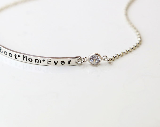 Personalized Name Bracelet with Cubic zirconia / Skinny Name plate Bracelet with CZ  EB039