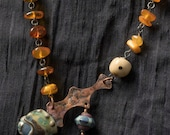 boho assemblage necklace, vintage baltic amber, art artisan beads, unusual jewelry, Balancing Act necklace