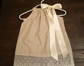 Personalized Khaki Pillowcase Dress With Beautiful Lace