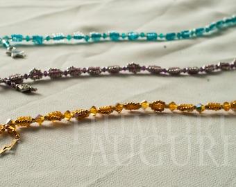 Charm Bracelet OOAK - Bridesmaid Gift- Minimalist Colorful Customizable Unique - Swarovski Crystal Violet, Teal and Orange- Little Auguries