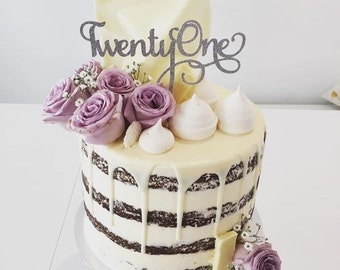 Twenty One Cake Topper - Assorted Colours - Twentyone Cake Topper - Milestone Birthday - 21st Birthday - Twenty First