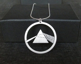 Silver Prism – Dark side of the moon – physics gift – Spectrum - science necklace
