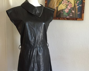 25% OFF SALE Zippered Leather New Wave Modern Rock and Roll Metal Mini Dress
