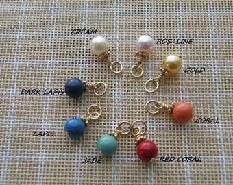 ONE  Swarovski pearl charm (6mm) - Gold filled pendant- Add a  pearl - Add on charm