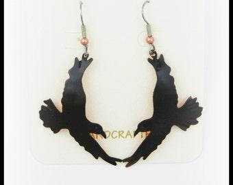 Crow earrings, raven earrings, corvid jewelry, crow jewelry, raven jewelry, goth raven earrings, rook, patinaed copper, canadian fashion